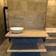Badkamermeubel BWS Woodstone Twee Bovenbladen met Boomstamkant 120 cm (met beugels en waskom)
