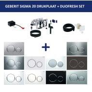 Bedieningsplaat Geberit Sigma 20 + DuoFresh Geurzuiveringssysteem Glansverchroomd Met Matverchroomde Designringen