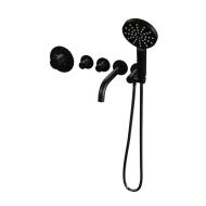 Inbouwthermostaatset Brauer Black Incl Baduitloop en 3 Standen Handdouche Mat Zwart