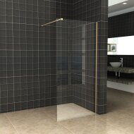 BWS Inloopdouche Pro Line Helder Glas 70x200 Geborsteld Messing Goud Profiel en Stang
