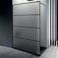 Inloopdouche Lacus Tremiti Wall 110x200 cm Mat Glas Stabilisatiestang Zwart