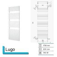 Handdoekradiator Lago 1758 x 600 mm Donker grijs structuur