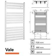 Handdoekradiator Vale 1120 x 660 mm Donker grijs structuur