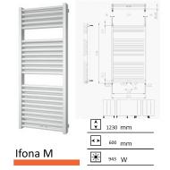 Badkamerradiator Ifona M 1230 x 600 mm Parelgrijs (Pearl grey)