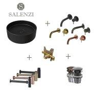 Salenzi Waskomset Hide Circle 40x12 cm Mat Zwart (Keuze Uit 4 Kleuren Kranen)