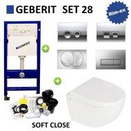 Geberit UP100 set28 B&W Zero Compact met Delta drukplaat