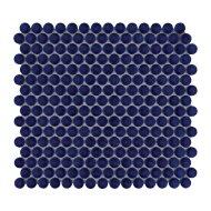 Mozaïek Venice Pennyround 31.5x29.4 cm Geglazuurd Porselein, Rond Glanzend Kobalt Blauw (Prijs Per 0.93 m2)