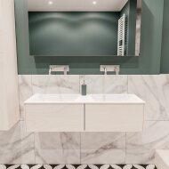 Badkamermeubel BWS Madrid Wit 120x45x30 cm Mat Witte Solid Surface Wastafel Dubbel (2 lades, 0 kraangaten)