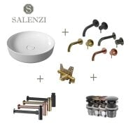 Salenzi Waskomset Form 45x12 cm Glans Wit (Keuze Uit 4 Kleuren Kranen)