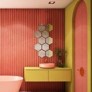 Badkamerspiegel Martens Design Hexagon 3D 20 cm Brons- of Zilverkleurig met Facet