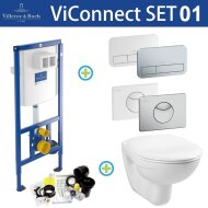 Villeroy & Boch ViConnect Toiletset set01 B&W Basic Smart met DF ViConnect drukplaat