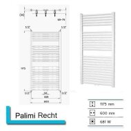 Designradiator Boss & Wessing Palimi Recht 1175 x 600 mm