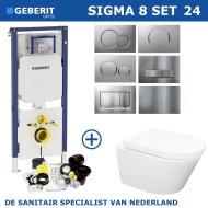 Geberit Sigma 8 (UP720) Toiletset set24 Wiesbaden Vesta Rimless 52cm Met Sigma Drukplaat