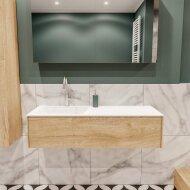 Badkamermeubel BWS Madrid Washed Oak 120x45x30 cm Mat Witte Solid Surface Wastafel Links (1 kraangat)