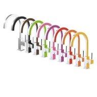 Keukenmengkraan Tres Top Colors 1-Hendel Uitloop Gebogen 24.1 cm Vierkant Geel Chroom