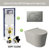 Geberit UP720 Toiletset Wandcloset Salenzi Civita Mat Grijs met Sigma 01 Drukplaat