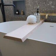 Badplank Gliss Shelf Gewerveld 100 cm Massief Eikenhout Wit Olie