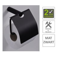 BWS Toiletrolhouder Mia Met Klep Mat Zwart