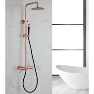 Opbouw Regendouche Set BWS Copper Pro Thermostatisch Staaf Handdouche Geborsteld Koper 30 cm