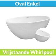 Vrijstaande Whirlpool Wiesbaden Oval 170x78x60 cm Luchtsysteem Mat Wit (afvoer optioneel)