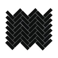 Mozaïek Paris 24.7x31.8 cm Geglazuurd Porselein, Visgraat En Mat Zwart (Prijs Per 0.79 m2)