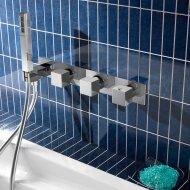 Douchethermostaat Hotbath Bloke met handdouche 2-weg inbouw RVS Look