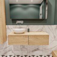 Badkamermeubel BWS Madrid Washed Oak 120 cm met Massief Topblad en Keramische Waskom Links (2 lades, 0 kraangaten)