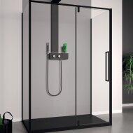 Douchecabine Lacus Murano 110 cm Helder Glas Met Klapdeur Aluminium Profiel Zwart (2 Zijwanden)