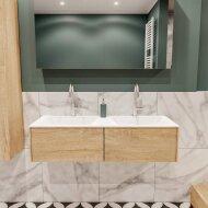 Badkamermeubel BWS Madrid Washed Oak 120x45x30 cm Mat Witte Solid Surface Wastafel Dubbel (2 lades, 2 kraangaten)