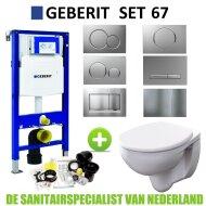 Geberit UP320 Toiletset set67 Geberit Econ Rimfree met Sigma drukplaat