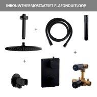 Thermostatisch Inbouwdoucheset BWS Plafonduitloop Rond 30 cm Mat Zwart