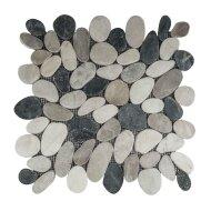 Mozaiek Mat Pebble Sliced Tumb Honed S Mix Black,Cream And Brown Sea Stone 30x30 cm (Prijs per 1m²)