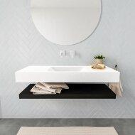 Badkamermeubel BWS Ibiza 120 cm met Mat Zwart Planchet Solid Surface Wastafel Mat Wit (acht varianten)