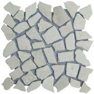 Mozaiek tegels Beige marmer scherven getrommeld mixed maten (prijs per matje 30x30cm)