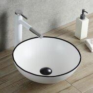 Opbouw Waskom Boss & Wessing Raja 40 cm Glanzend Wit met Zwarte Lijn