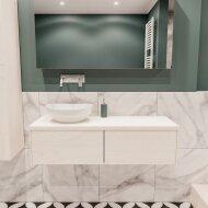 Badkamermeubel BWS Madrid Wit 120 cm met Massief Topblad en Keramische Waskom Links (2 lades, 0 kraangaten)