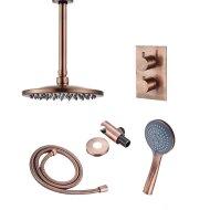 Inbouw Regendouche Set Boss & Wessing Copper Plafonduitloop en 3 Standen Handdouche Geborsteld Koper 30 cm