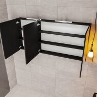 Spiegelkast Boss & Wessing Cube 150x70x16 cm Mat Zwart Urban (3 deuren)