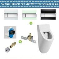 Urinoir Set Salenzi Hung Achterinlaat Mat Wit met TECE Square Drukplaat Glas