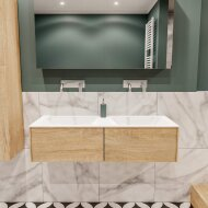 Badkamermeubel BWS Madrid Washed Oak 120x45x30 cm Mat Witte Solid Surface Wastafel Dubbel (2 lades, 0 kraangaten)