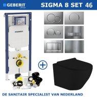 Geberit Sigma 8 (UP720) Toiletset set45 Mudo Rimless Mat Zwart Met Sigma Drukplaat