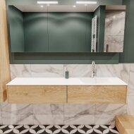 Badkamermeubel BWS Madrid Washed Oak 180x45x30 cm Mat Witte Solid Surface Wastafel Rechts (2 lades, 1 kraangat)