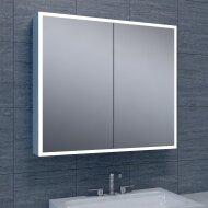 Spiegelkast Wiesbaden Quatro met Rand Verlichting 80x70x13 Aluminium