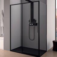 Douchecabine Lacus Torcello Schuifdeur met Zijwand 130x200 cm 6 mm Helder Glas Zwart Profiel