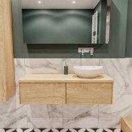 Badkamermeubel BWS Madrid Washed Oak 120 cm met Massief Topblad en Keramische Waskom Rechts (2 lades, 0 kraangaten)
