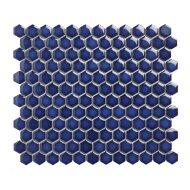 Mozaïek Barcelona 26x30 cm Geglazuurd Porselein Hexagon Glanzend Cobalt Blauw (Prijs Per 0.78 m2)