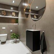 MONDIAZ TURE 40cm toiletmeubel urban. EDEN wastafel talc midden geen kraangat