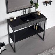 Wastafel Doccia Saona 100x45 cm Composiet Mat Zwart (exclusief meubel)