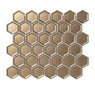 Mozaïek Barcelona 28.1x32.5cm Metallic Porselein, Hexagon En Coated Brons (Prijs Per Vel)