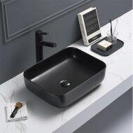 Waskom Sanilux Minerva Color Line 50x39x13 cm Inclusief Click Waste Mat Zwart